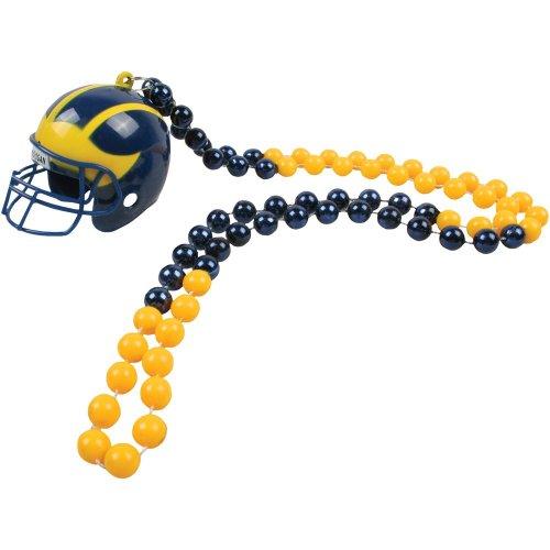 Michigan Wolverines Football Mini-Helmet and Mardi-Gras Bead Set