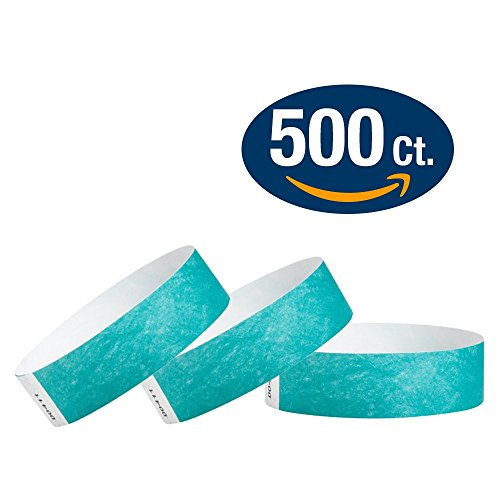 "WristCo Caribbean Blue 3/4"" Tyvek Wristbands - 500 Pack Paper Wristbands For Events"