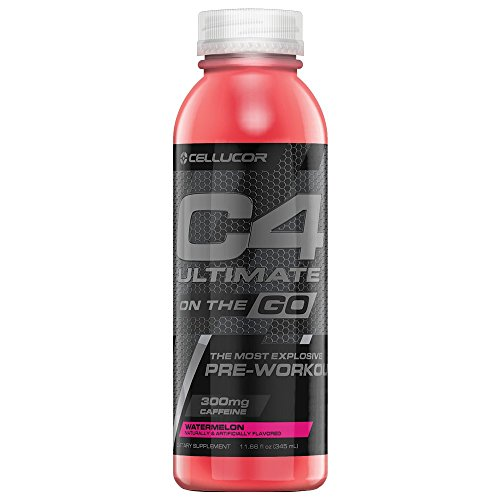 Cellucor C4 Ultimate On The Go Zero Sugar Pre Workout Drink, Energy Drink + Beta Alanine, Watermelon, 11.66 Ounce Bottles (Pack of 12)
