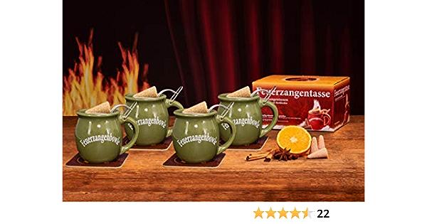 Feuerzangentasse Juego de 4 botes de ron (100 ml) y conos de azúcar de canela (20 unidades), color verde oliva