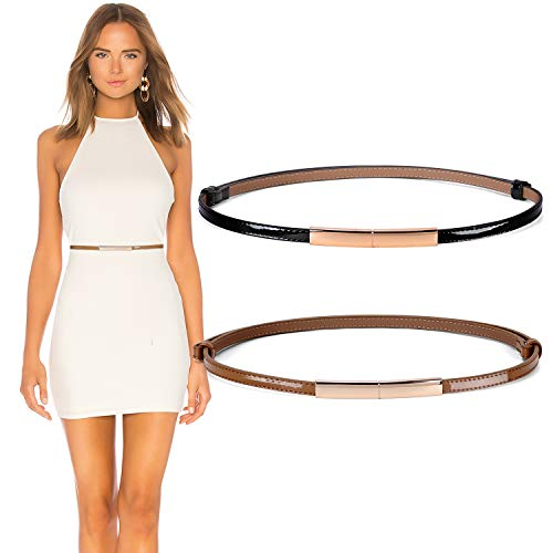 JASGOOD 2 Pack Women's Skinny Leather Belt Adjustable Slim Waist Belt with Gold Buckle for Dress(Black+Tan,Waist Size 24-40Inch)