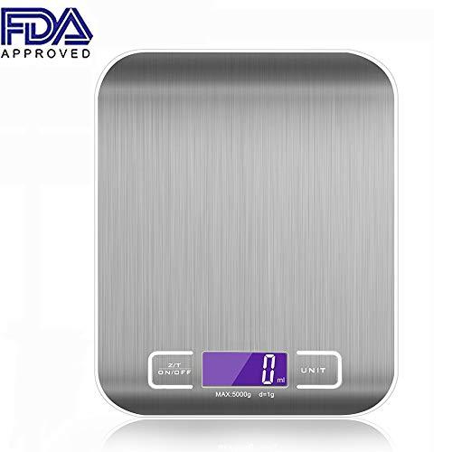 Básculas para alimentos, ANDECO Balanza electrónica para cocina digital con plataforma de acero inoxidable Pantalla...