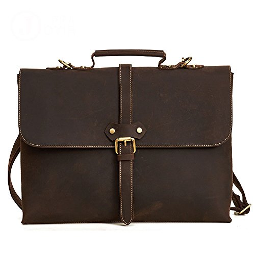 a in borsa pelle tracolla stile Yayα 15 in a tracolla da portatile uomo tracolla Borsa marrone colore con retrò a in stile tracolla pollici APxnpdpwSq