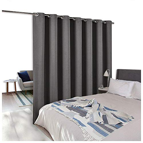 (NICETOWN Room Divider Curtain Screen Partitions, Thermal Insulated Blackout Patio Door Curtain Panel, Sliding Door Curtains (Single Panel, 8.3ft Wide by 7ft Long Inches, Gray))