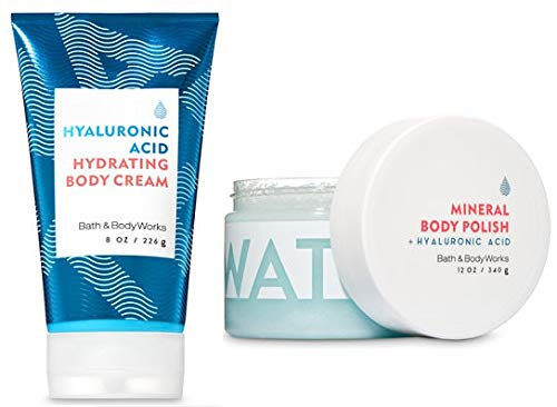Bath and Body Works Water Collection Set. Hyaluronic Acid Hydrating Body Cream 8 Oz. & Hyaluronic Acid Mineral Body Polish 12 Oz.