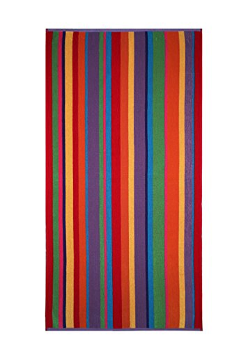 Cotton Craft - 2 Pack Terry Beach Towel 30x60 - Summer of Siam Multi Stripe - 400 grams per square meter- 100% Pure Ringspun Cotton - Brilliant Vibrant colors - Highly absorbent easy care machine wash - Beach Towel Craft