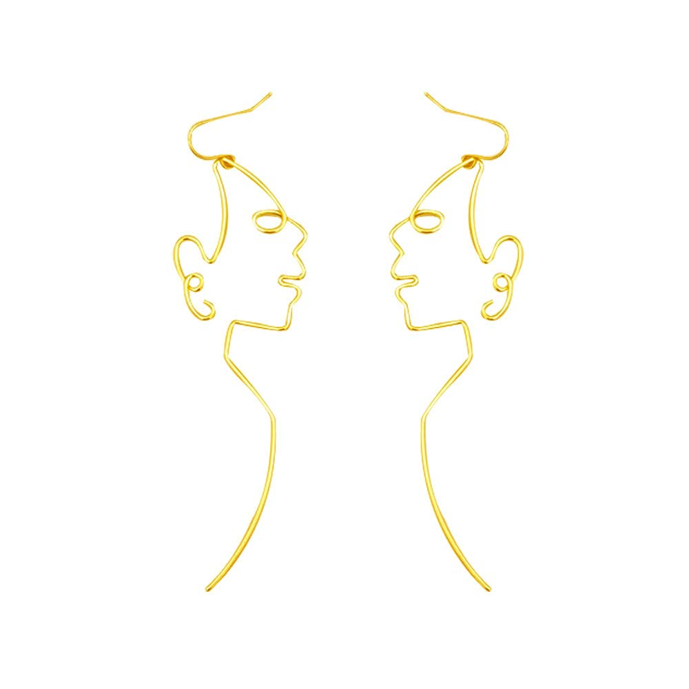 0eaf89522ffd4 QXFQJT Hollow Earrings Abstract Art Human Face Dangle Earring ...