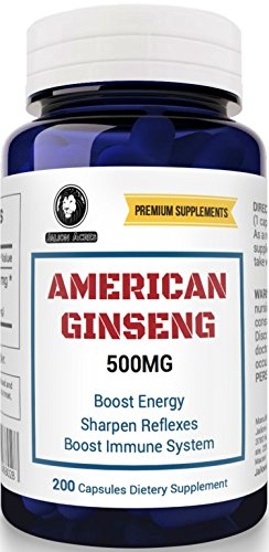 American Ginseng 500 mg, 200 Capsules. A Massive 6 Month Supply by Jalion Acres Premium Supplements. Panax Ginseng Root extract for Men & Women.