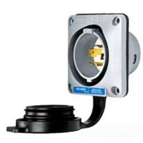 Hubbell Wiring Systems HBL2415SW Twist-Lock Watertight Safety Shroud Flanged Inlet, 20 amp, 125/250VAC, 3-Pole, 4-Wire Grounding, L14-20P, Gray by Hubbell Wiring Systems