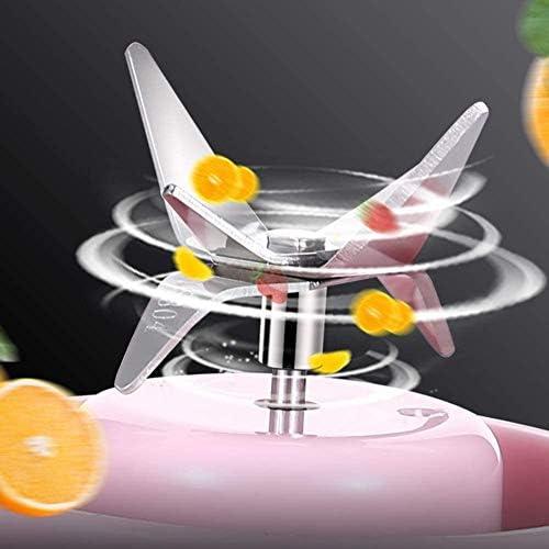 WHL.HH Portable Mixeur, Mini Mixeur, La Glace Mixeur Presse-Agrumes Tasse jus Glace pilée Smoothie Secouer, 4 Lames, USB Rechargeable pour des Sports, Voyage, Gym,A