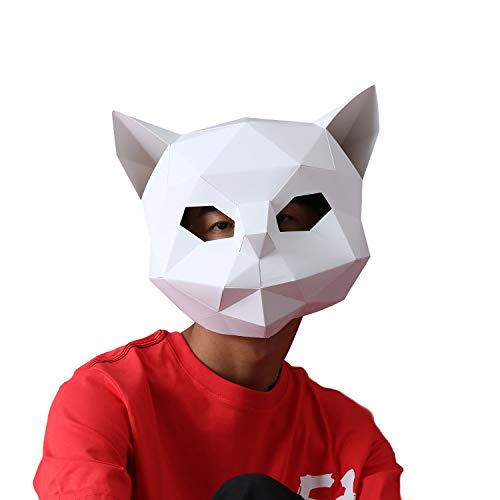 VIPbuy 3D Paper Mask Template Animal Head Mold DIY Low-Poly Paper Craft Kit for Costume Cosplay Party (Cat Pattern)