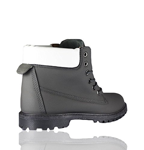 RoMaAn's IDeal Fashion Womens Ladies Combat Casual Grip Rubber Sole Lace UP Ankle Boots Shoes Size 3-8 Grey