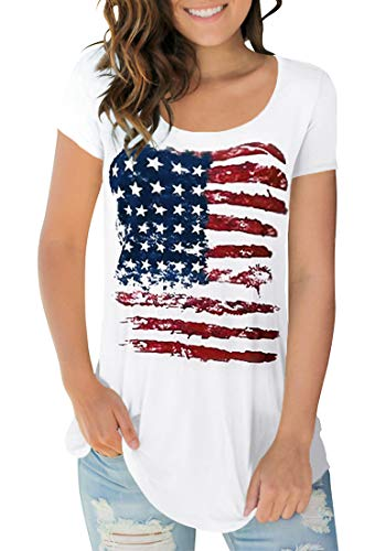 - Women's July 4th T Shirts Short Sleeve Casual Summer Tops Scoop Neck L