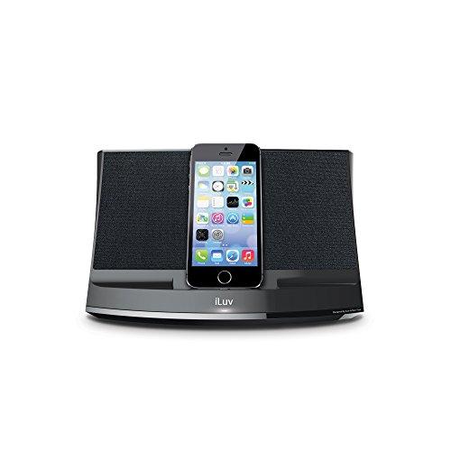 Iluv Ipod Docking - iLuv Aud 3 Apple Lightning Speaker Dock for iPhone 6S Plus, iPhone 6 Plus, iPhone 6S, iPhone 6, iPhone 5S, iPhone 5C, iPhone 5 - Black [Apple MFi Certified]