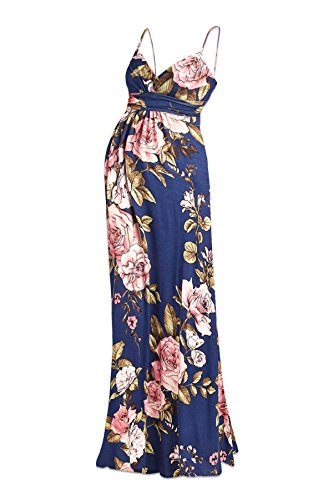 Beachcoco Women's Maternity Sweetheart Party Maxi Dress (M, Multi 03 Navy)