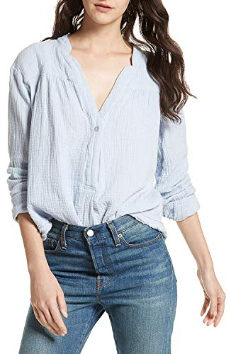 Free People Women's Changing Horizons Long Sleeve Crinkle Blouse Top, Light Blue, -