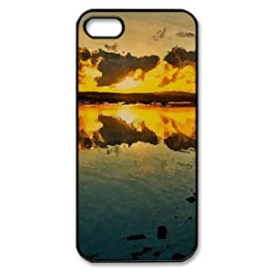 Beautiful Golden Sunset Watercolor style Cover iPhone 5 and 5S Case (Beach Watercolor style Cover iPhone 5 and 5S Case)