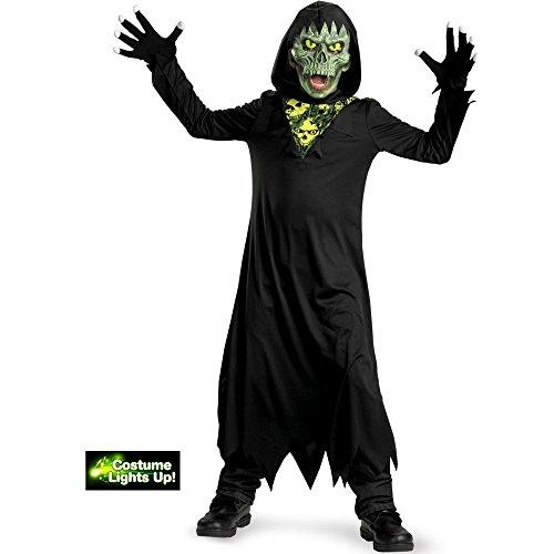 Disguise Glow Away Grim Reaper Costume, Black/Green, Large/10-12