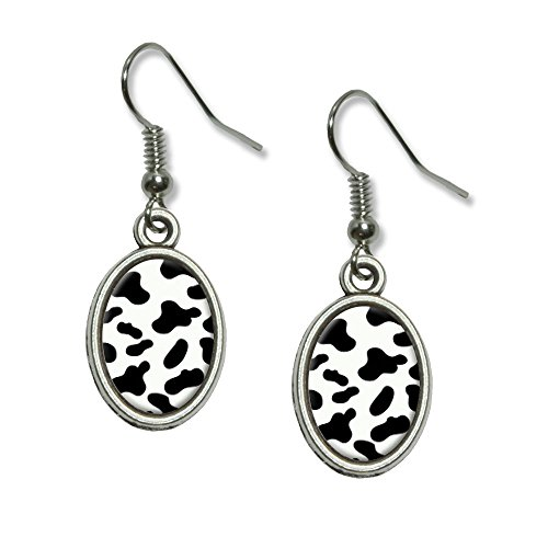 Cow Print Black White Novelty Dangling Drop Oval Charm Earrings
