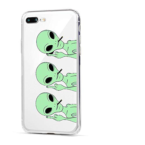HUIYCUU Case Compatible with iPhone 8 Plus for iPhone 7 Plus Case, Cute Animal Design Slim Fit Soft TPU Cover Cool Funny Pattern Thin Clear Bumper Back Case, Triple Green Alien