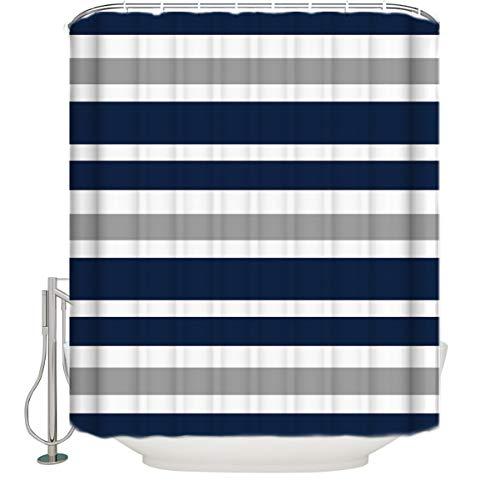 Navy Blue, Gray and White Kids Bathroom Fabric Bath Teen Stripe Shower Curtain-72 x78 ()