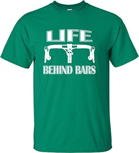 Mens Bike Life (Go All Out Screenprinting Medium Kelly Green Adult Life Behind Bars Funny Bike Bicycle Funny T-Shirt)
