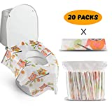Toliet Seat Covers - Gimars Upgrade Waterproof Larger Potty Seat Covers for Kids Potty Training and Adults, Disposable and Individually Wrapped Compact for Travel (Owl Design -20 Pack): more info