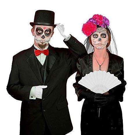 Black Mamut Disfraz De Catrina Y Catrin Para Parejas Novios Fiestas Día De Muertos Halloween Kit Con Sombrero Diadema Guantes Maquillaje