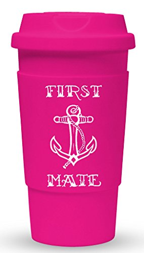 Funny Guy Mugs First Mate Travel Tumbler With Removable Insulated Silicone Sleeve, Pink, 16-Ounce
