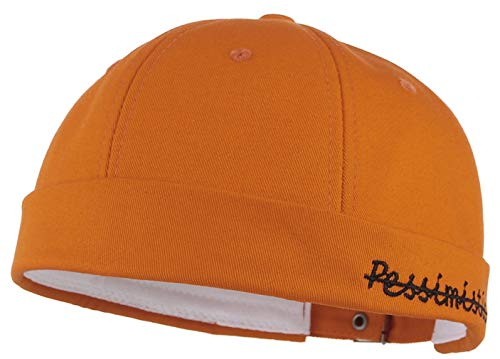 GEMVIE Unisex Cotton Skull Cap Solid Plaid Adjustable Letter Rolled Cuff Beanie Hat Orange