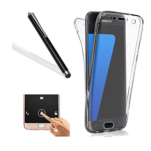 Galaxy S6 Edge Plus Case,Samsung S6 Edge Plus TPU Cover,Leeook extremely Thin Transparent apparent Black develop Shockproof Cover soft TPU Silicone lean healthy Scratch resilient Front and Back extensive Body 360 Degree Protection Gel Bumper claim for Samsung Galaxy S6 Edge Plus + 1 x Free Black Stylus