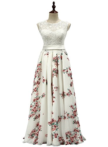 Pretygirl Womens Chiffon Vintage Floral Printed Evening Dress Long Bridesmaid Prom Go (US 2, Picture - Gown Chiffon Printed