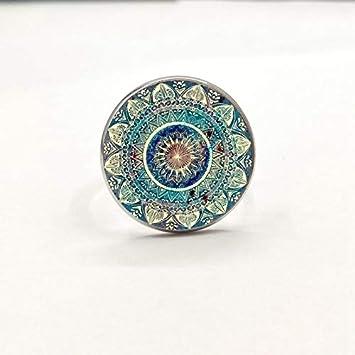 Amazon.com: Vintage Buddhist Chakra Glass Round Ring, Om ...