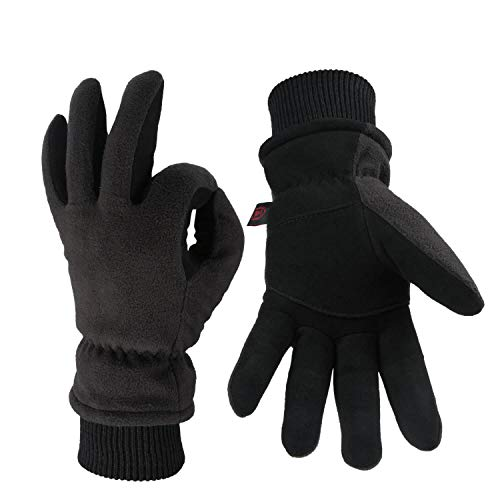 OZERO Work Gloves Coldproof Thermal Winter Glove - Deerskin Leather Palm & Polar Fleece Back with Insulated Cotton - Windproof Water-Resistant Warm Hands in Cold Weather for Women Men - Denim(M)
