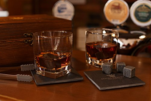 Whiskey Stones Gift Set by Royal Reserve   Husband Birthday Gifts Artisan Crafted Chilling Rocks Scotch Bourbon Glasses and Slate Table Coasters – Gift for Men Dad Boyfriend Anniversary or Retirement by Royal Reserve (Image #7)