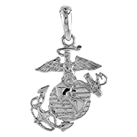 Sterling Silver Eagle Globe & Anchor EGA Necklace Women Flawless Polished Finish 7/8 inch 1mm Box_Chain from Sabrina Silver
