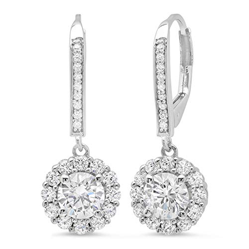 3.45ct Brilliant Round Cut Halo Solitaire Highest Quality White Created Sapphire & Simulated Diamond Unisex Anniversary Gift Leverback Drop Dangle Earrings Real Solid 14k White Gold