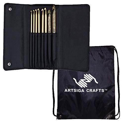 addi Knitting Needles Crochet Hook Click Aluminum and Plastic Interchangeable System Bundle with 1 Artsiga Crafts Project Bag ()