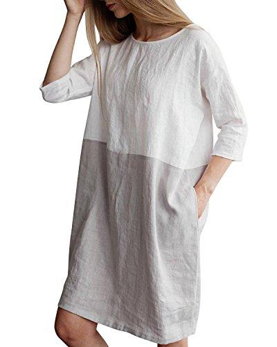 YOUBENGA Women's Plus Size 3/4 Sleeve Loose Cotton Linen Top Shirt Dress Light Gray S