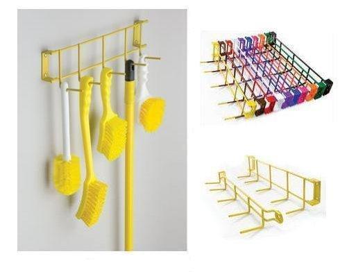 Horizon 4033 17'' Steel Utility Sanitation Brush Rack with 5 Hooks, 17-1/4'' Width x 3'' Height x 3'' Depth, Green