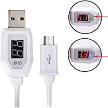 Mercu 3.28ft/1m Fast Charging Smart Micro USB Charging Cable Voltage Meter Monitor with LED Current Display