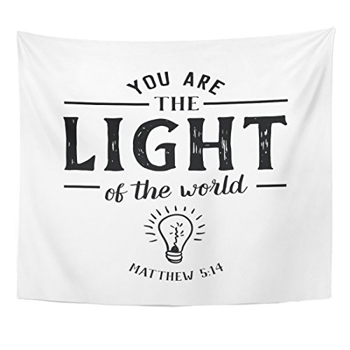 (TOMPOP Tapestry You are The Light of World Christian Hand Lettering Home Decor Wall Hanging for Living Room Bedroom Dorm 50x60 Inches)