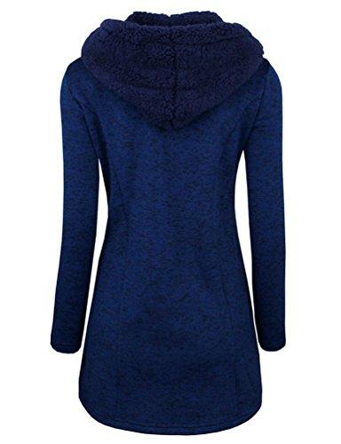 WanYang WanYang Donna Cappotto Trench Invernale Lungo Manica Blu Lunga Cappotti Soprabito Risvolto Giacca Cappotto qqOrnd