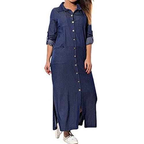 Lazzboy Womens Loose Swing Long Sleeve Pockets Denim Solid Maxi Shirt Dress...