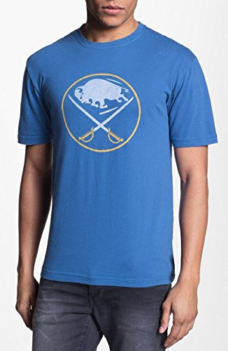 Red Jacket Buffalo Sabres Men's Distressed Logo T-Shirt Blue (Small) ()