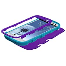 MYBAT Rubberized Hybrid Phone Protector Cover for Samsung Galaxy S3 (i9300/i747/L710/I535/T999) – Carrying Case – Retail Packaging – Grape/Tropical Teal
