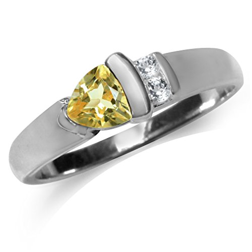 Citrine 925 Silver Ring - Natural Citrine & White Topaz 925 Sterling Silver Ring Size 9