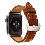 Retro Crazy Horse Genuine Leather Wrist Strap for Apple Watch Band iWatch 1 2 3 Stainless Steel Adapters Replacement Watchband