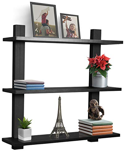 Sorbus Floating Shelf — Asymmetric Square Wall Shelf, Decorative Hanging Display for Trophy, Photo Frames, Collectibles, and Much More, Set of 3 (3-Tier – Black)