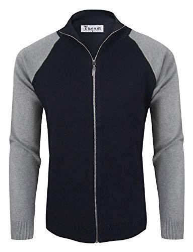 (TAM WARE Mens Stylish Colorblocked Full Zip Cardigan TWHD1016-NAVY-US)